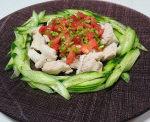 茹で鶏むね肉のトマトピーマンソース